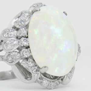 1940s Era, 18kt White Gold, Cabochon Opal, and Diamond Ring