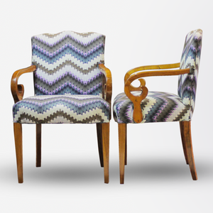 Pair of  Biedermeier Arm Chairs with Zig Zag Moth fabric