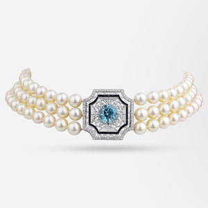 Pearl Choker with Belle Epoque Platinum, Zircon, Onyx and Diamond Panel