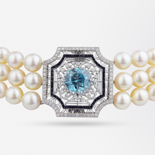 Load image into Gallery viewer, Pearl Choker with Belle Epoque Platinum, Zircon, Onyx and Diamond Panel