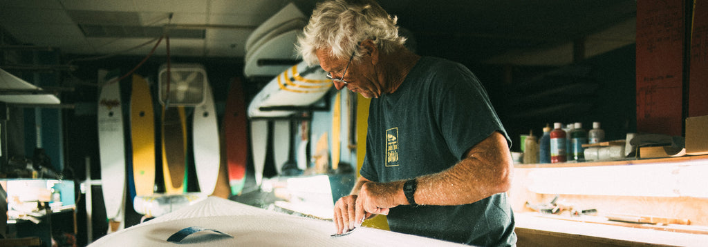 Shaper Steve Boehne shaping an Infinity Surfboard in Dana Point, California