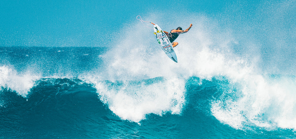 Surfer Albee Layer does a huge air on his favorite Infinity Surfboard