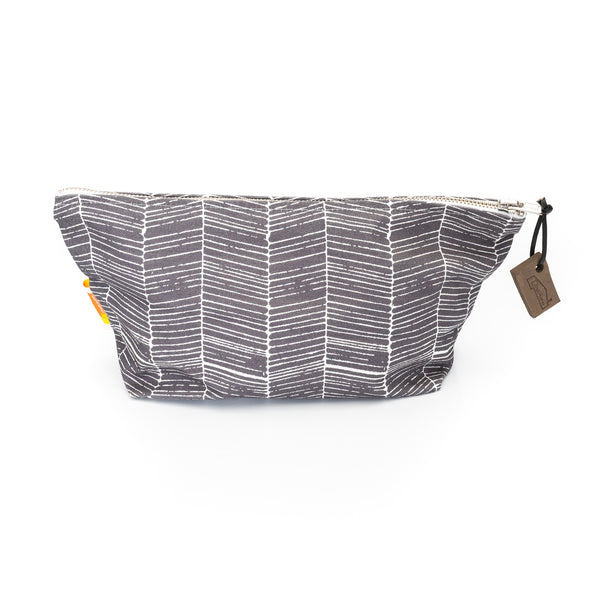 Nordic Grey Herringbone Print Wash Bag