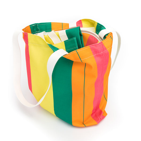 Zest Stripe Print Tote Bag