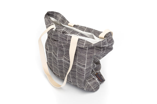 Nordic Grey Herringbone Print Tote Bag