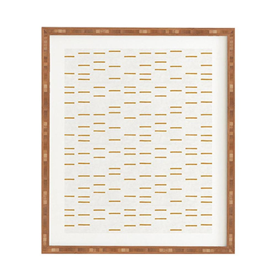 Ochre Line Art Natural Framed Art