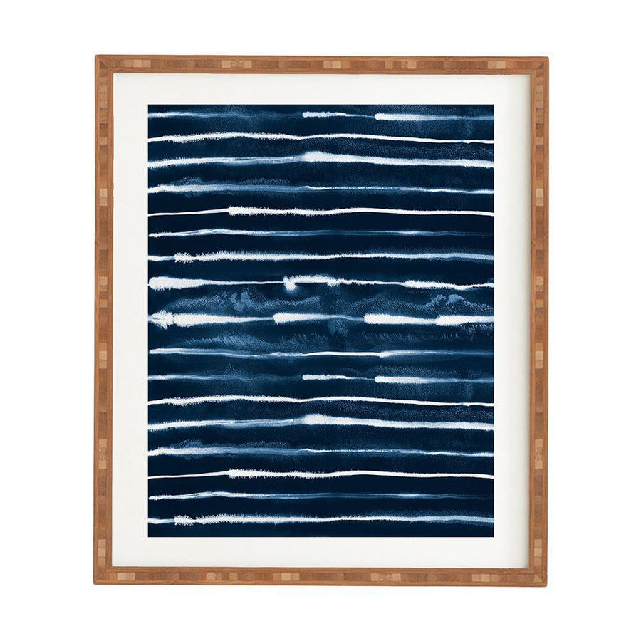 Navy Ink Stripes Framed Art