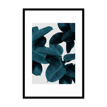 Indigo Plant Leaves Framed Art