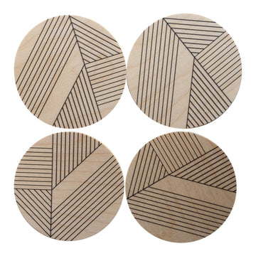 Deco Wood Coasters, Set of 4