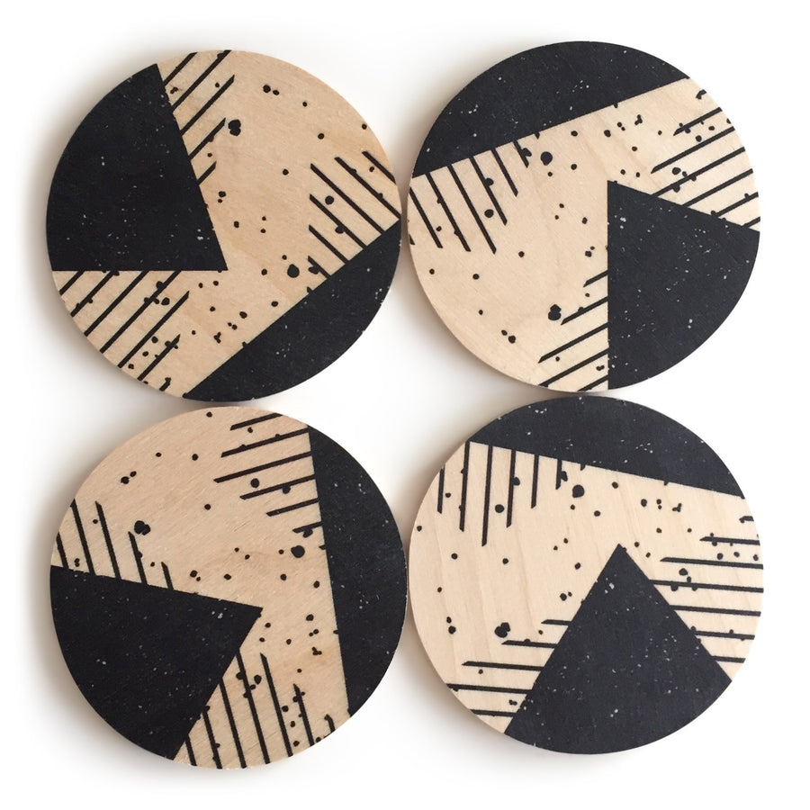 Memphis Wood Coasters, Set of 4