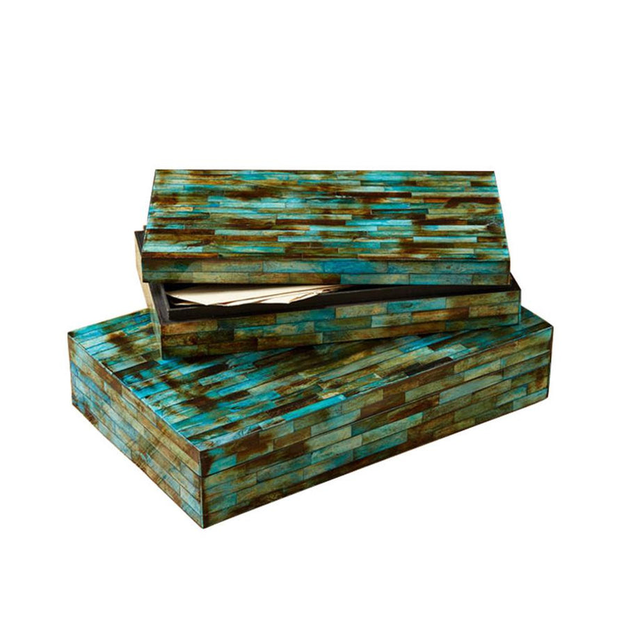 Verdigris Covered Boxes, Set of 2