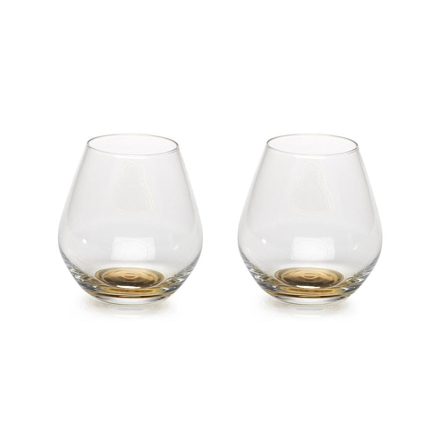 Gold Base Wine Glasses, Set of 2