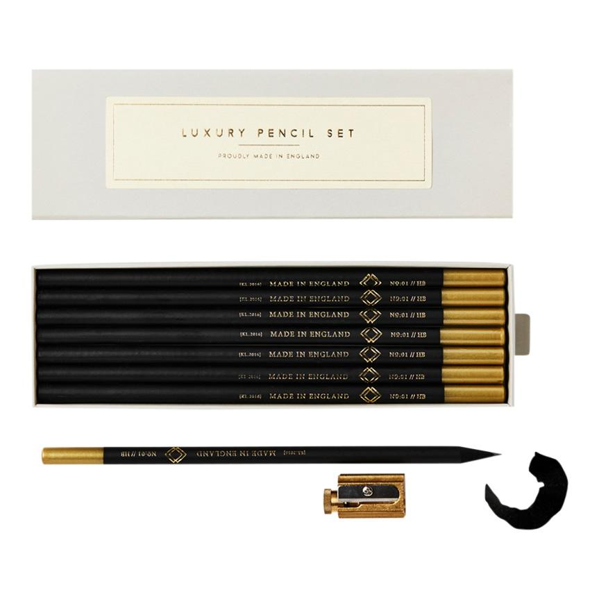 Black and Gold Pencils, Set of 7