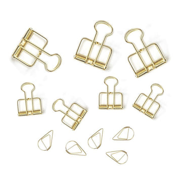 Gold Binder and Paper Clips, Set of 12