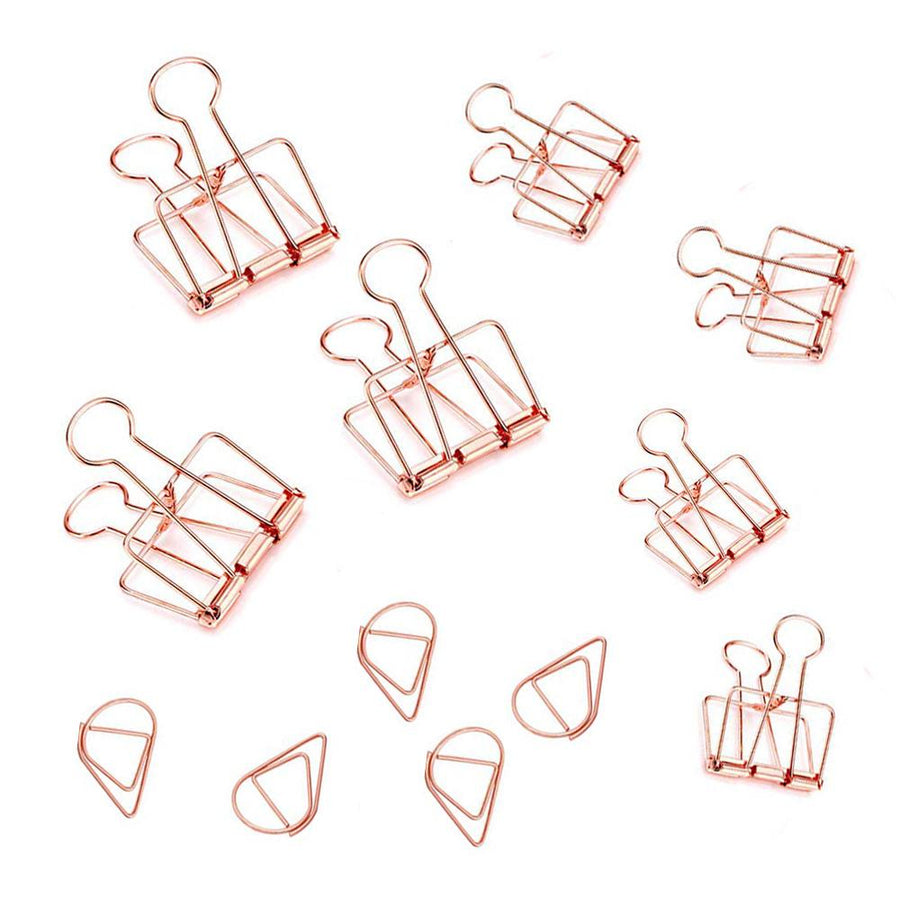 Set of Rose Gold Binder and Paper Clips