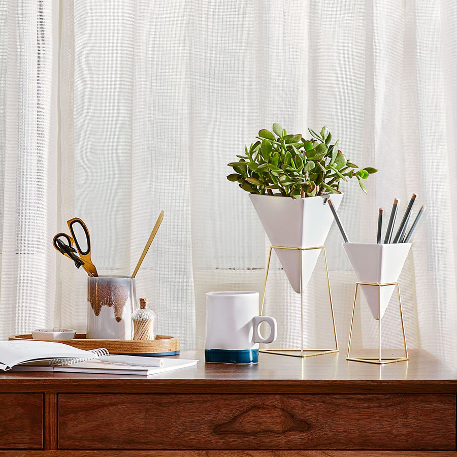 White Planter and Pen Holder Set