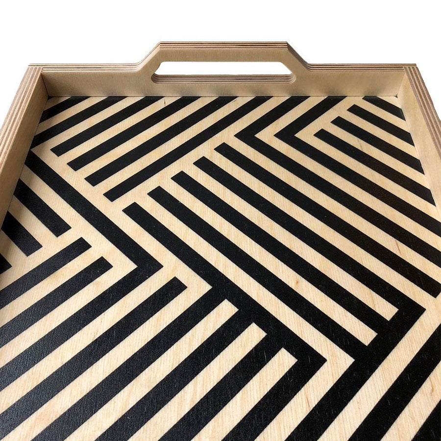 Black Lines Large Wood Tray