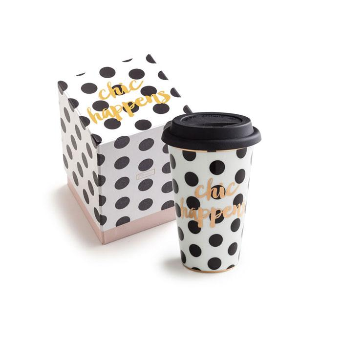 Ladies Choice Chic Happens Black Dot Mug
