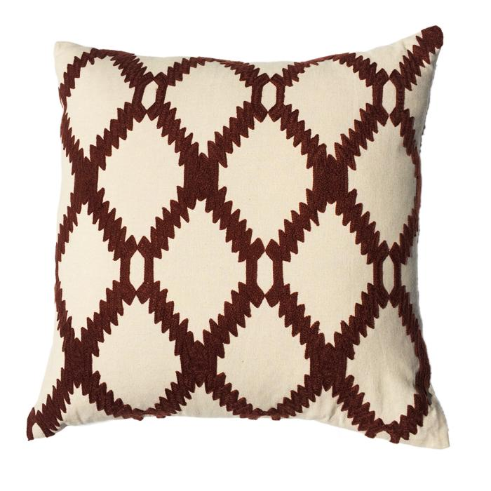 Ari Rust Embroidered Design Pillow