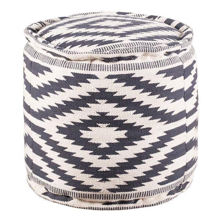 Blue Diamond Round Pouf