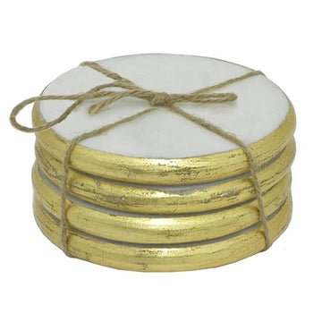 Round White and Gold Marble Coasters - Set of 4