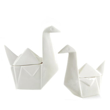Porcelain Swan Boxes - Set of 2