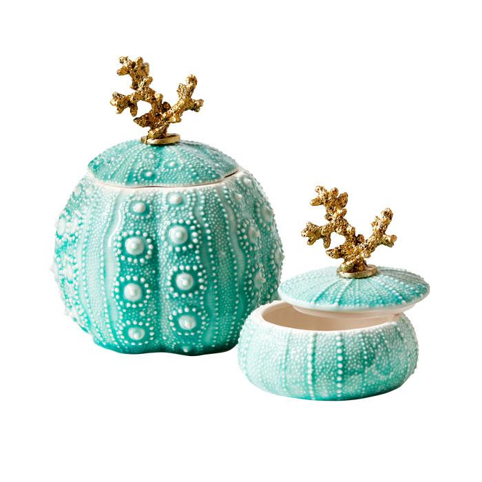 Set of 2 Gold Coral and Seafoam Sea Urchin Trinket Boxes