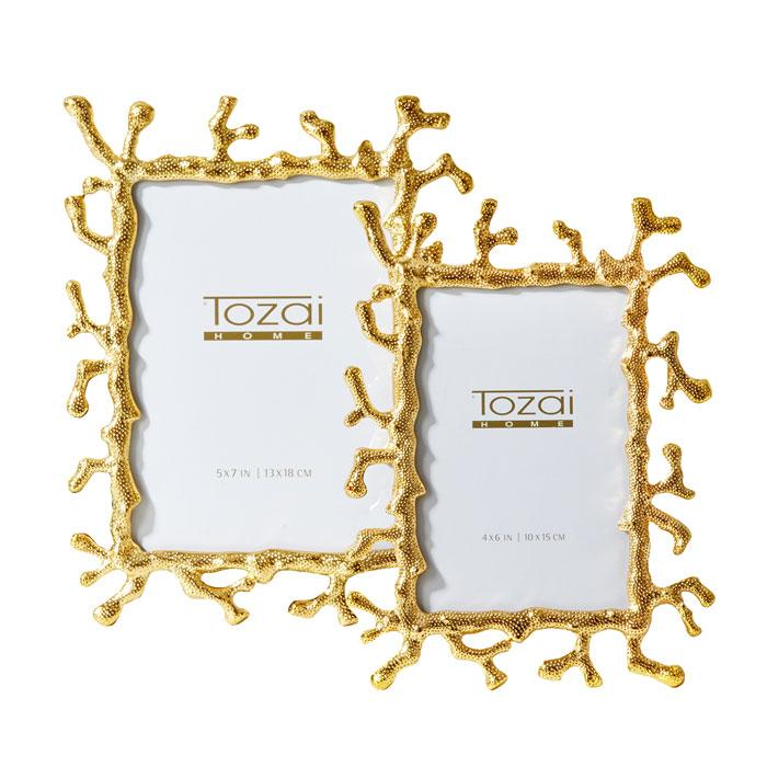 Set of 2 Golden Coral Photo Frames