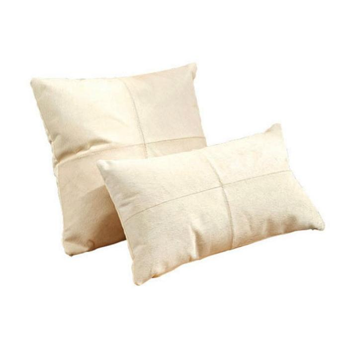 White Leather Cowhide Pillows