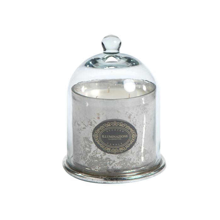 Wax Filled Mercury Glass Jar w. Cloche