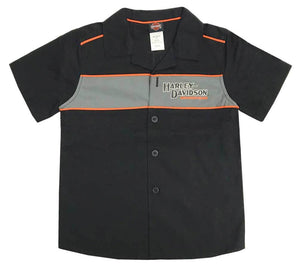 Harley-Davidson® Little Boys' Short Sleeve Woven Shop Shirt, Black. 1080889