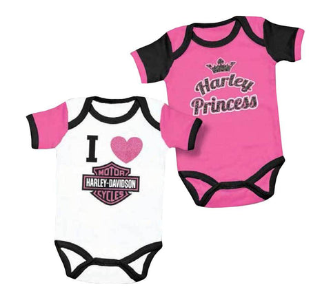Harley-Davidson® Baby Girls' Princess Creeper Set, 2 Pack Pink/White 3000557