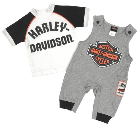 Harley-Davidson® Baby Boys' B&S 2-Piece Knit Overall Set - Grey & White. 3051911