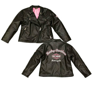 Harley-Davidson® Girls' Laundered Faux Leather Biker Jacket - 6020771.