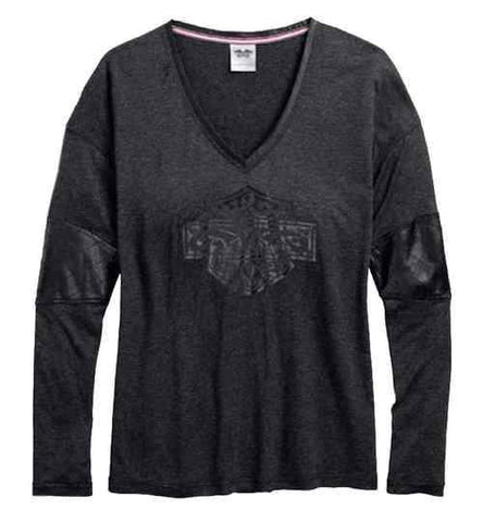 Women's Coated Accent V-Neck Long Sleeve Tee, Gray 96056-17VW