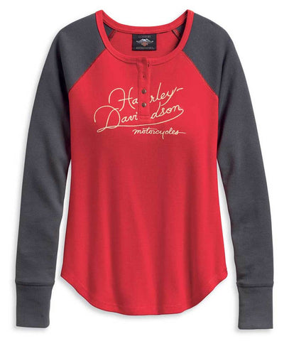 Harley-Davidson® Women's World Famous Colourblocked Henley, Red/Gray 96191-20VW
