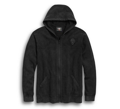 Harley-Davidson® Mens Winged Willie G Skull Waffle Full Zip Black Long Sleeve Hoodie. 96804-19VM