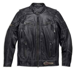 Men's Tifton Distressed Leather Jacket, Black 97138-17VM