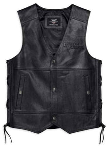 Men's Tradition II Midweight Leather Vest, Black 98024-18VM