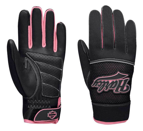 Harley-Davidson® Women's Pink Label Mixed Media Full-Finger Gloves. 98131-20VW