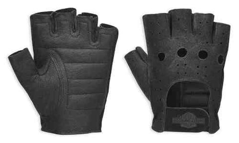 Men's Bar & Shield Fingerless Leather Gloves 98150-94VM
