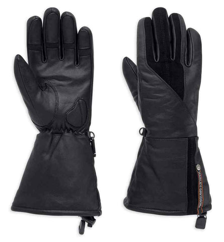 Harley-Davidson® Women's Gage Leather Gauntlet Gloves, Black.  98354-17VW
