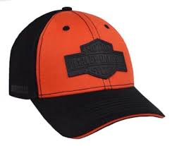 Harley-Davidson® Men's Rubber B&S Patch Baseball Cap, Orange & Black. BCC31264