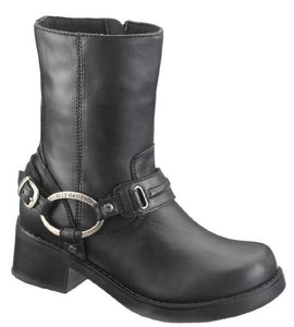 Women's Christa Black 8-Inch Harness Boots, 2-Inch Heel D85298