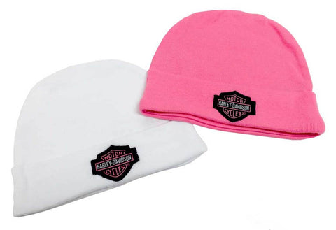 Harley-Davidson® Baby Girls' Embroidered B&S Hats, 2PK Gift Set, Pink 3000044