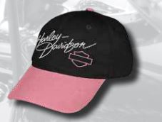 Harley-Davidson® Little Girls' Studded HD Script Baseball Cap, Pink/Black. 0130102
