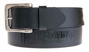 Harley-Davidson® Men's Embossed Shot Caller Belt, Black Leather.  HDMBT11038-BLK