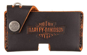 Harley-Davidson®Men's Road Bun Front Pocket Leather Wallet w/ Clip. HDMWA11330-BLK