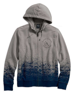 Mens Slim Fit Ombre Splatter Full Zip Grey Long Sleeve Hoodie - 96654-17vm
