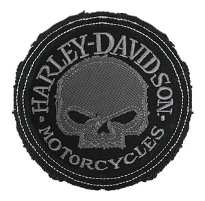 Grey Willie G Skull Frayed Emblem Patch - HDEMF1017